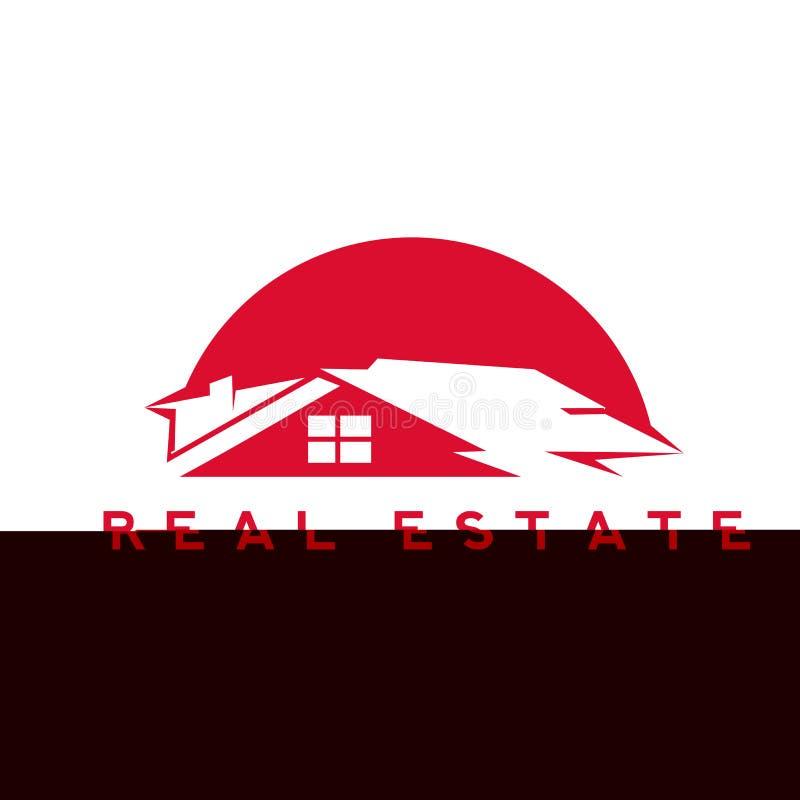 Ejemplo rojo del vector de la casa de las propiedades inmobiliarias imagenes de archivo