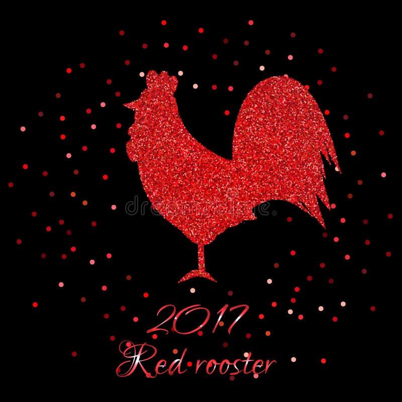 Ejemplo rojo del vector del gallo que brilla libre illustration