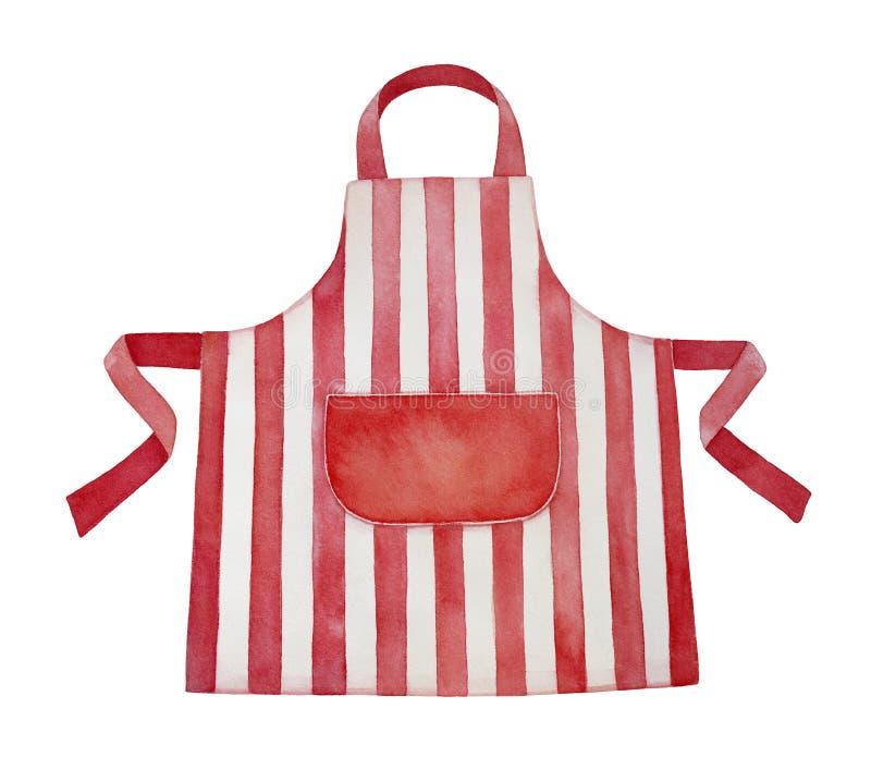 Ejemplo rojo y blanco del watercolour del delantal de la cocina stock de ilustración
