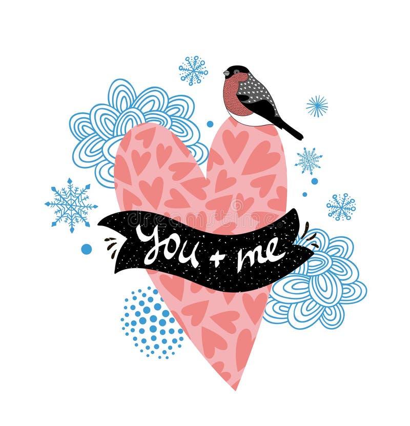 Ejemplo romántico con el pájaro rosado del corazón y del invierno stock de ilustración