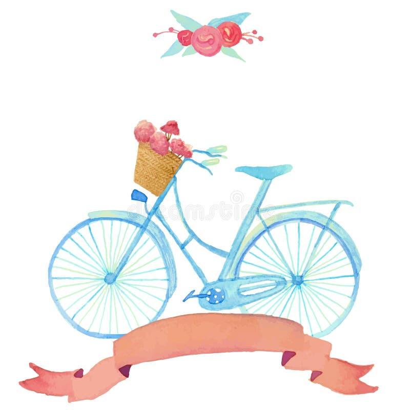Ejemplo romántico de la acuarela con la bicicleta en estilo del vintage libre illustration