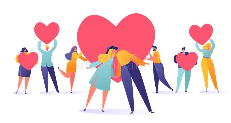 Ejemplo romántico del vector en tema de la historia de amor Fije de la gente que lleva a cabo los símbolos de un corazón, tarjeta ilustración del vector