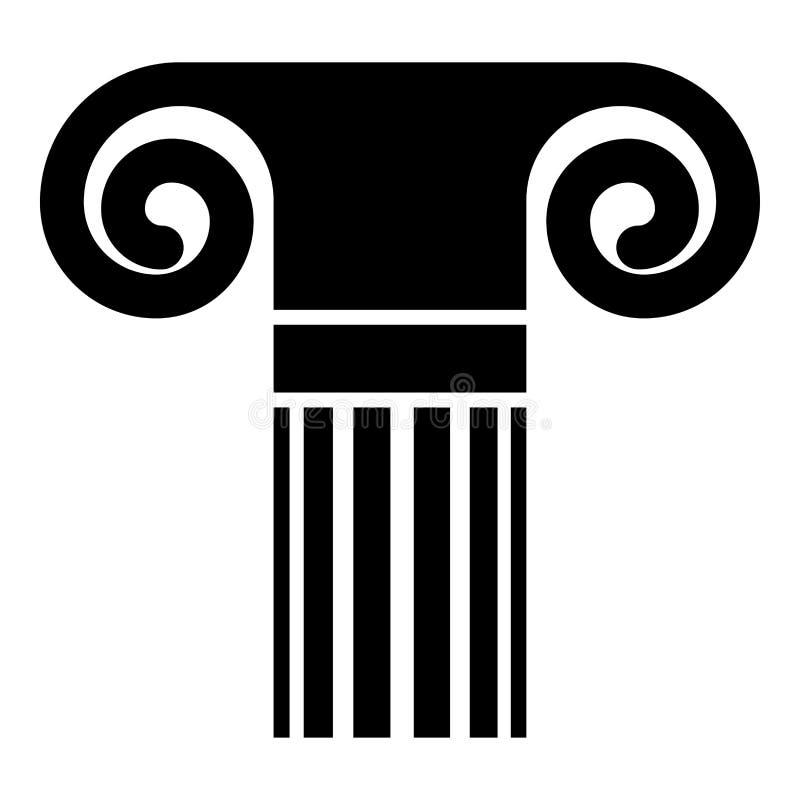 Ejemplo romano griego del vector del color del negro del icono de la columna del estilo de la columna de la antigüedad de la colu ilustración del vector