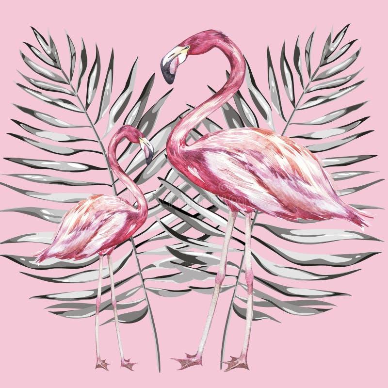 Ejemplo rosado de la acuarela del flamenco aislado en el fondo blanco Bosquejo dibujado mano con la hoja de palma stock de ilustración