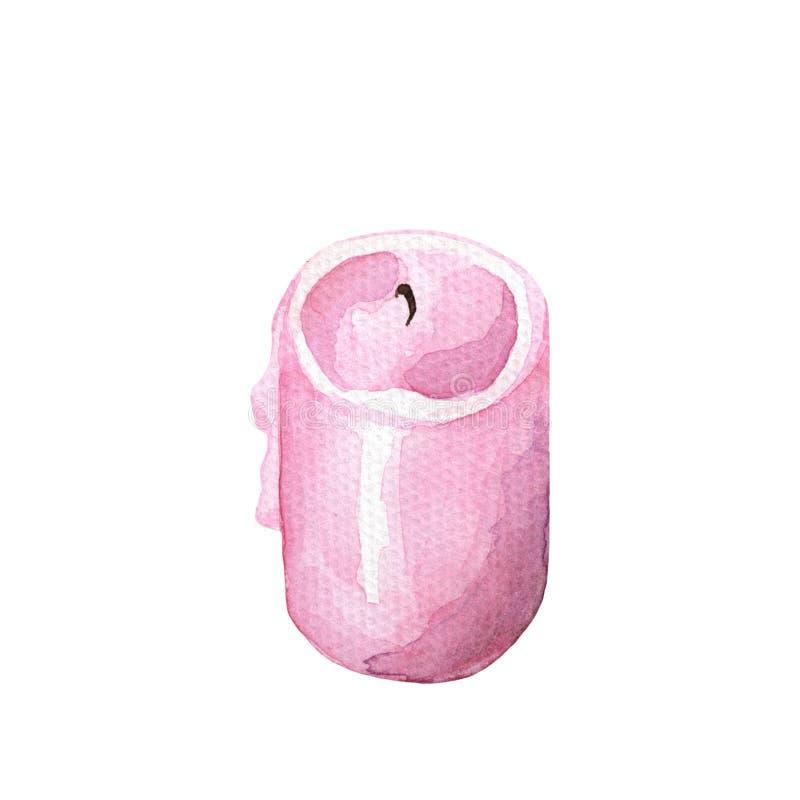 Ejemplo rosado de la acuarela de la vela en el fondo blanco Dibujo de la vela del rosa de Rose stock de ilustración