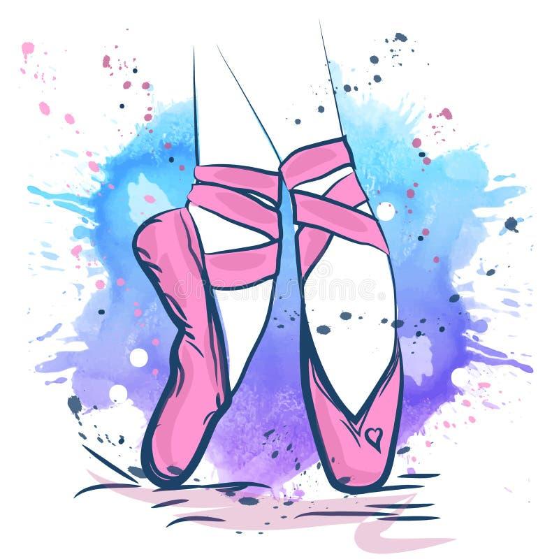 Ejemplo rosado de los zapatos de ballet hecho en estilo del esquema en un fondo de la acuarela ilustración del vector
