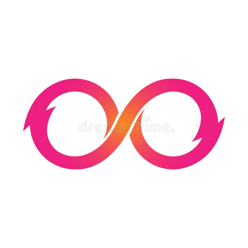 Ejemplo rosado del vector de los iconos del símbolo del infinito Ilimitado, límite ilustración del vector