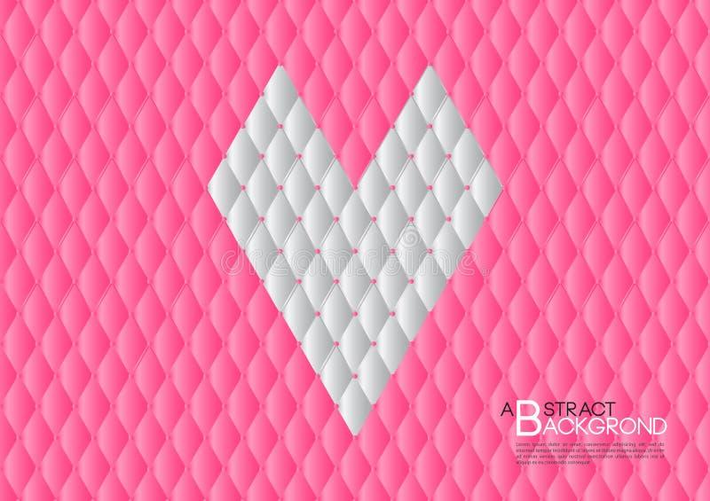 Ejemplo rosado del vector del fondo del extracto del corazón, disposición de la plantilla de la cubierta, aviador del negocio, lu stock de ilustración