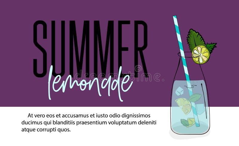 Ejemplo rosado exhausto de la limonada de la mano Rebanada del limón del vector, tarro de cristal con limonada de la fresa, hielo stock de ilustración