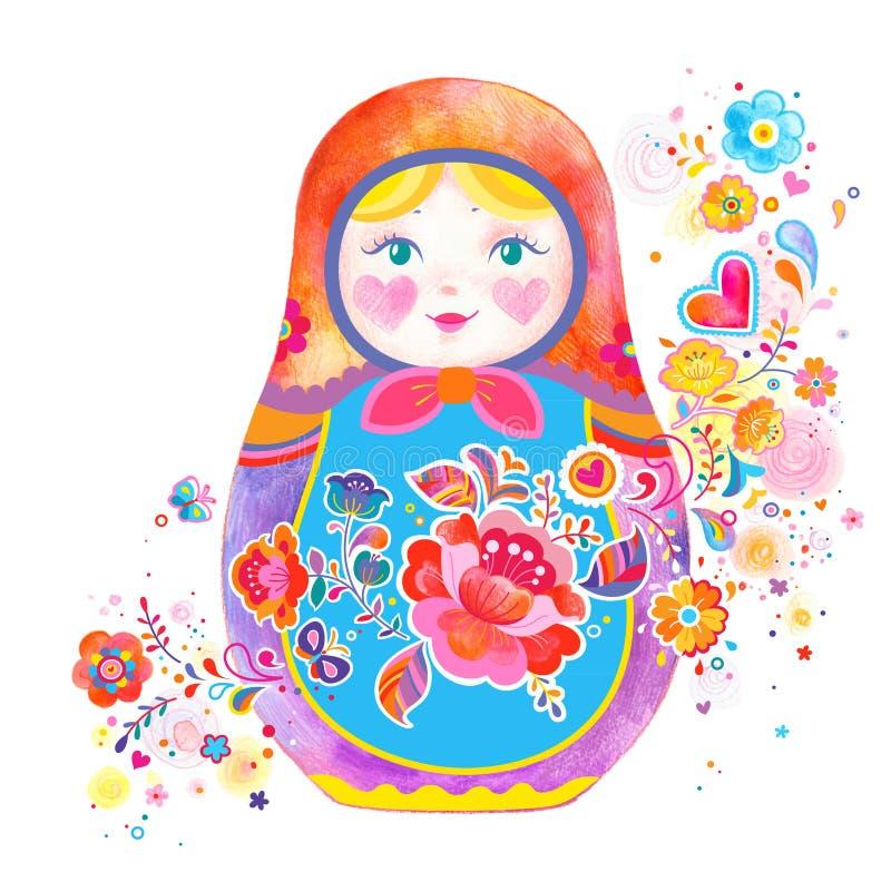 Ejemplo ruso lindo de la muñeca stock de ilustración