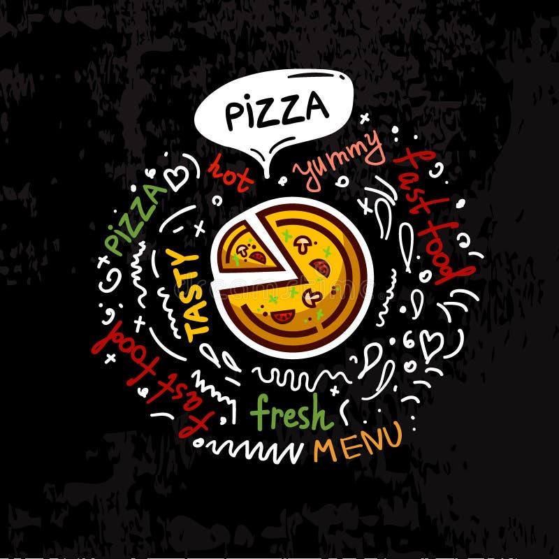 Ejemplo sabroso del vector del menú de la pizza de los alimentos de preparación rápida ilustración del vector