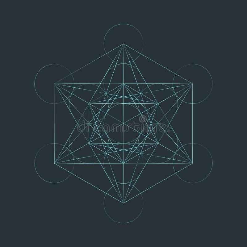 Ejemplo sagrado del cubo del metatron del esquema de Monocrome libre illustration