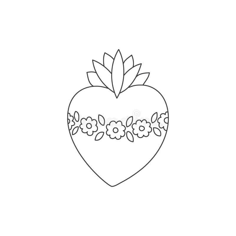 Ejemplo sagrado del garabato del corazón ilustración del vector