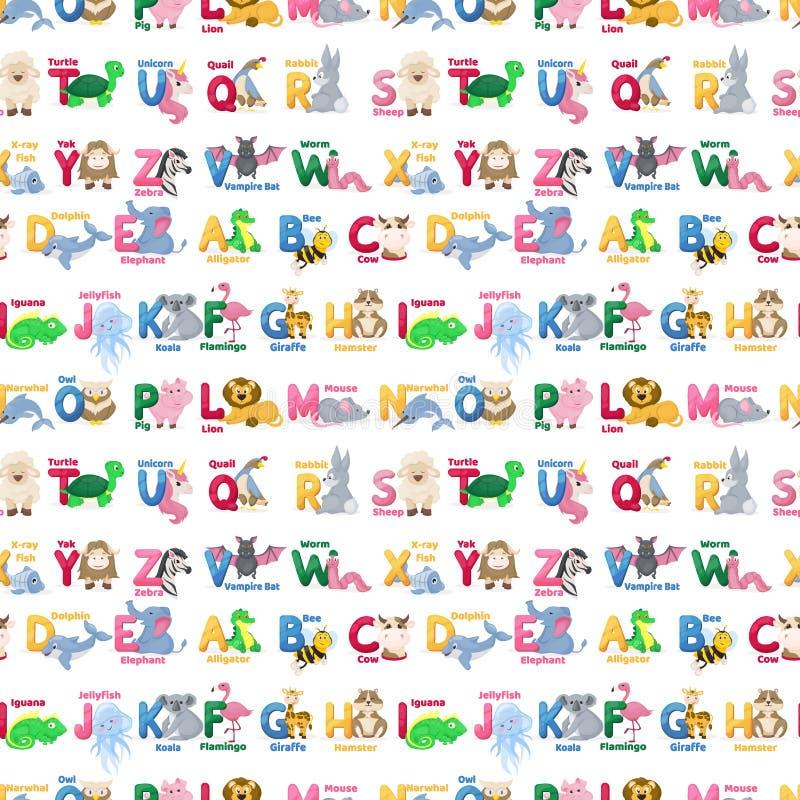 Ejemplo salvaje de los caracteres del modelo del alfabeto de los animales del parque zoológico del ABC de la historieta linda inc ilustración del vector
