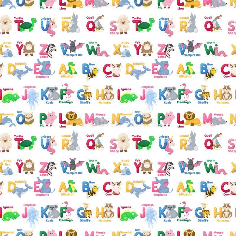 Ejemplo salvaje de los caracteres del modelo del alfabeto de los animales del parque zoológico del ABC del vector de la historiet libre illustration