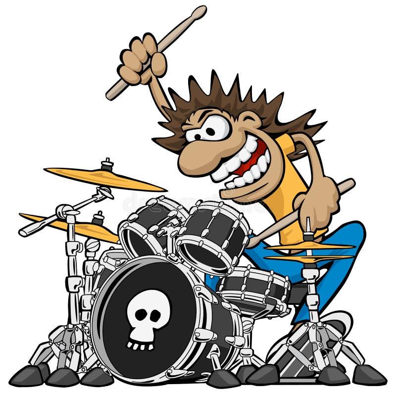 Ejemplo salvaje del vector de la historieta de Playing Drum Set del batería stock de ilustración