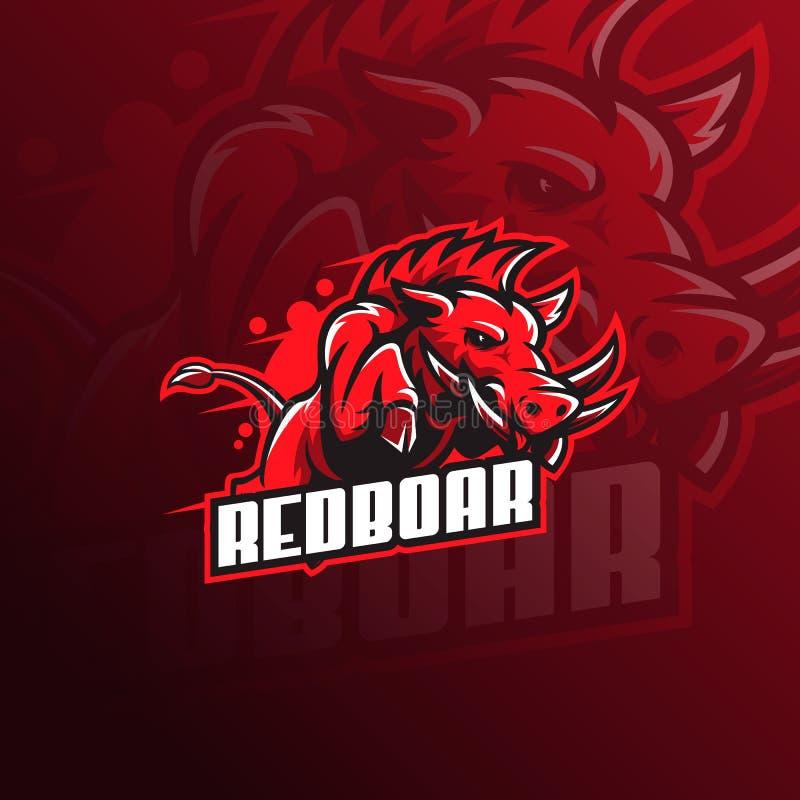 Ejemplo salvaje del vector del logotipo de la mascota del cerdo o del verraco cerdo enojado con estilo del salto libre illustration