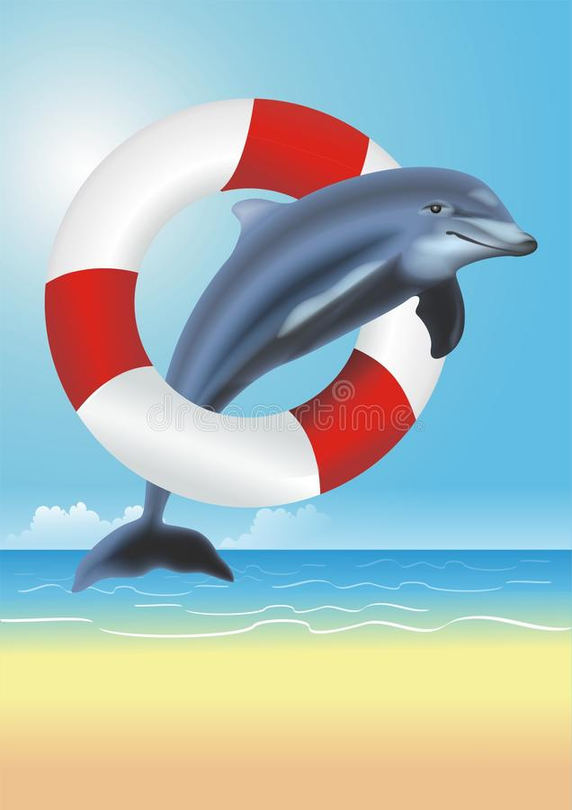 Ejemplo salvavidas del delfín stock de ilustración