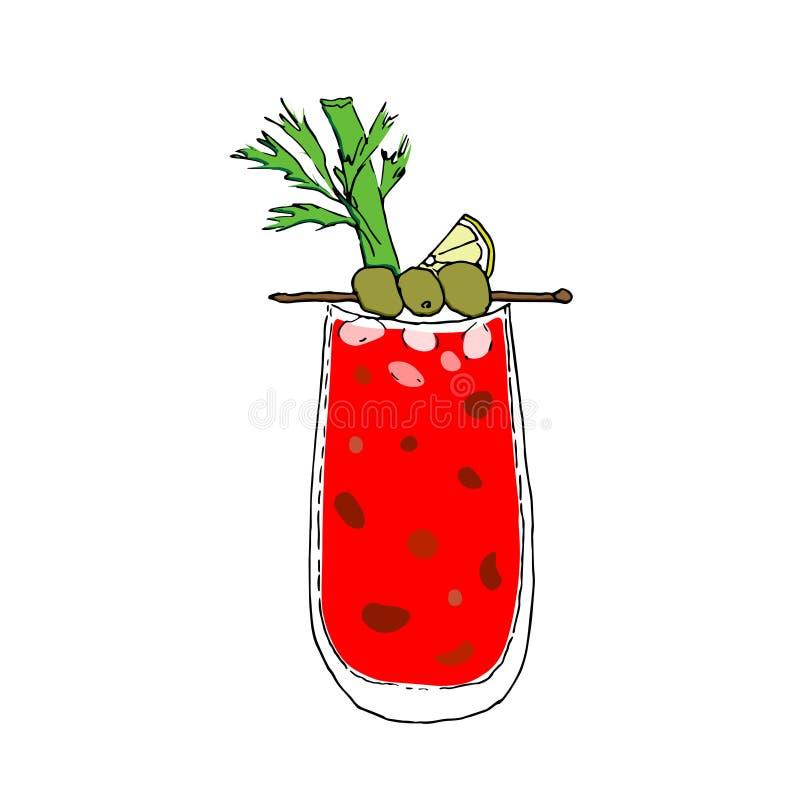 Ejemplo sangriento del vector del dibujo de Mary Cocktail Color Digital Vidrio en el fondo aislado blanco libre illustration