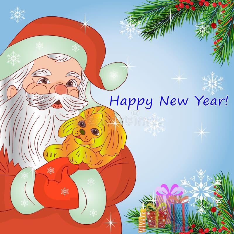 Ejemplo, Santa Claus en las manos que llevan a cabo un símbolo del perro amarillo ilustración del vector