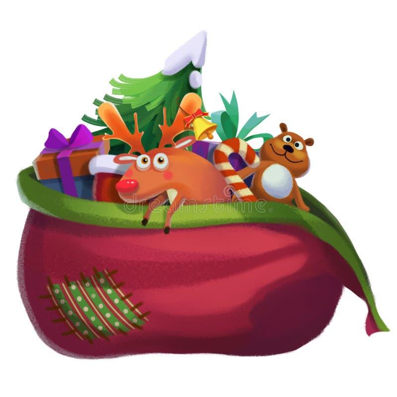 Ejemplo: Santa Claus Lost su bolso del regalo stock de ilustración