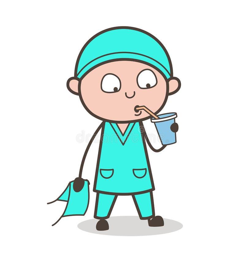 Ejemplo sediento de Drinking Beverage Vector del cirujano de la historieta ilustración del vector