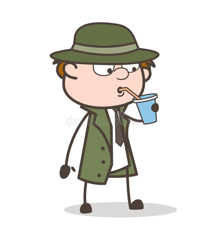 Ejemplo sediento del vector de Drinking Energy Drink del detective de la historieta ilustración del vector