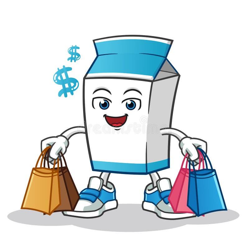 Ejemplo shoping de la historieta del vector de la mascota de la leche stock de ilustración
