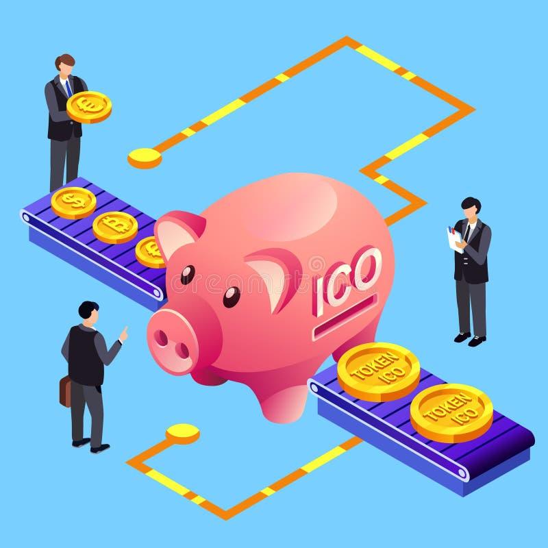 Ejemplo simbólico del vector del intercambio del bitcoin de Cryptocurrency ICO stock de ilustración