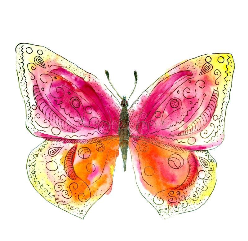 Ejemplo simple de la mariposa de la acuarela y de la tinta libre illustration
