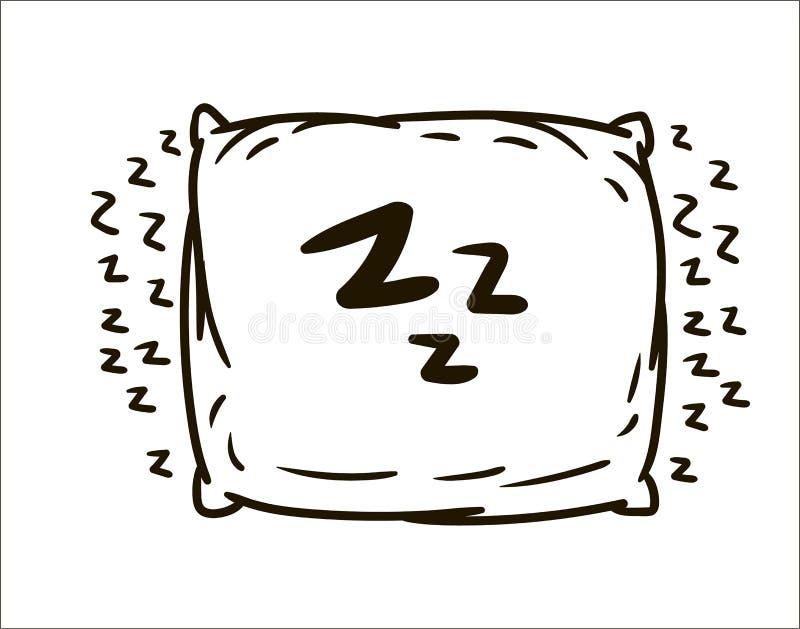 Ejemplo simple del bosquejo de la almohada exhausta de la mano del vector en el fondo blanco stock de ilustración