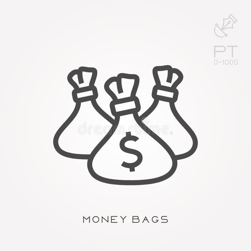 Ejemplo simple del vector con capacidad de cambiar Línea bolsos del dinero del icono ilustración del vector
