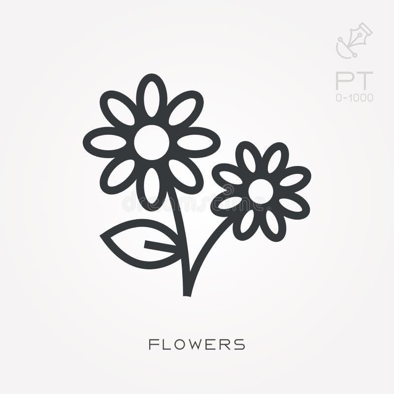 Ejemplo simple del vector con capacidad de cambiar Línea flores del icono stock de ilustración