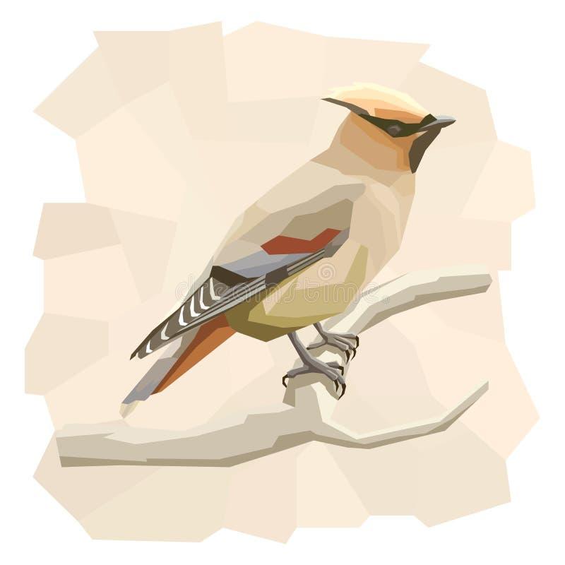 Ejemplo simple del vector del pájaro del waxwing stock de ilustración