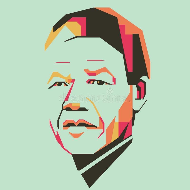 Ejemplo simple /eps del vector del color de Nelson Mandela stock de ilustración