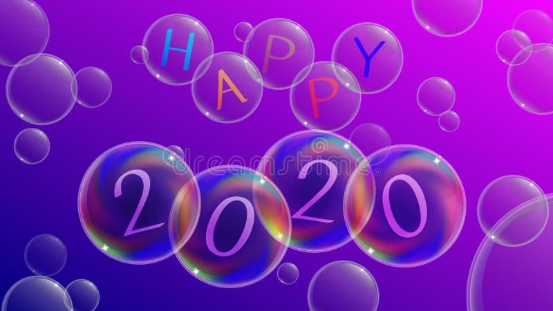 Ejemplo simple y soñador para la celebración 2020 de la Noche Vieja 2020 feliz ilustración del vector