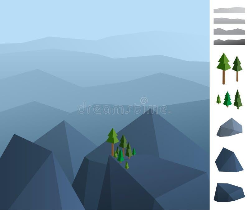 Ejemplo simplemente geométrico del paisaje de las montañas de la roca ilustración del vector