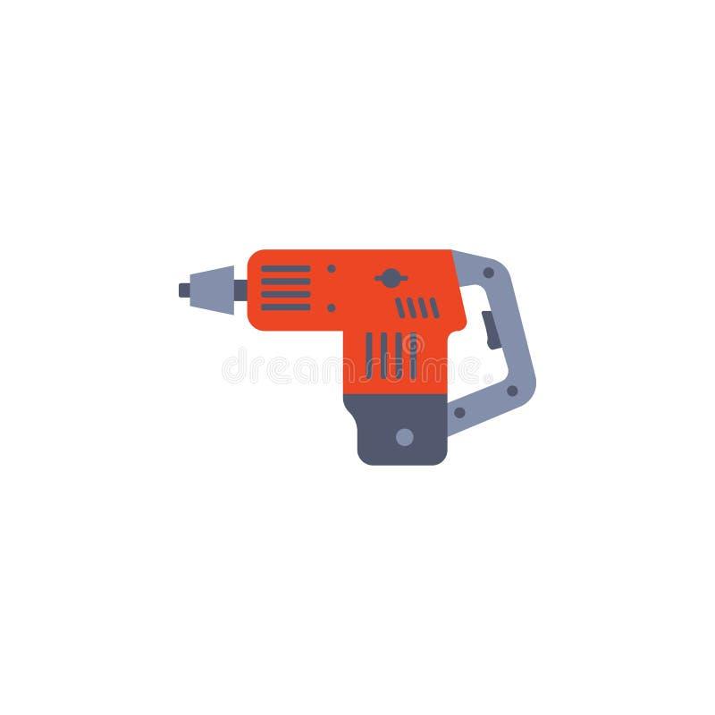 ejemplo sin cuerda coloreado del taladro de roca del martillo de la mano Elemento de las herramientas de la construcción para los stock de ilustración