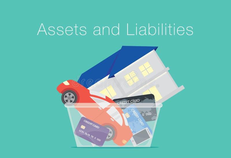 Ejemplo sobre diferencia entre los activos y las responsabilidades stock de ilustración