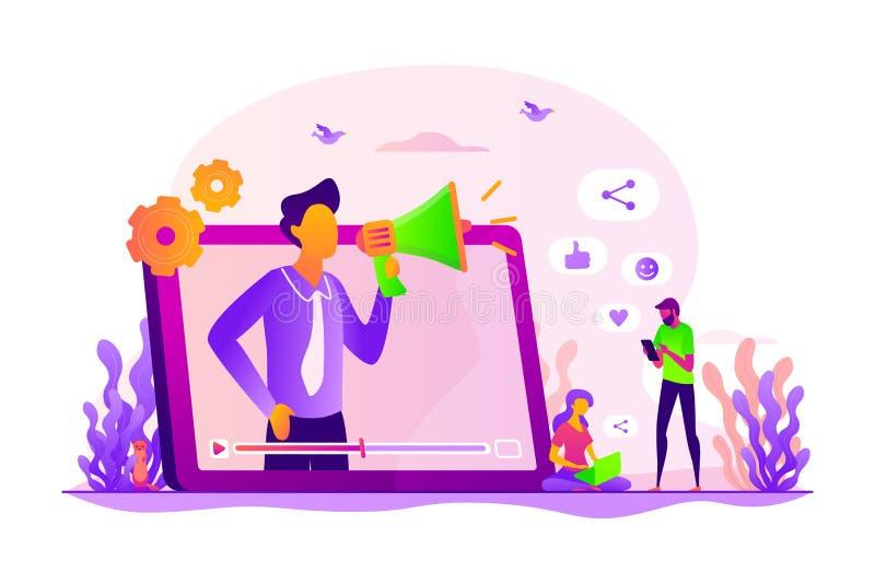 Ejemplo social del vector del concepto de la promoción de la red libre illustration
