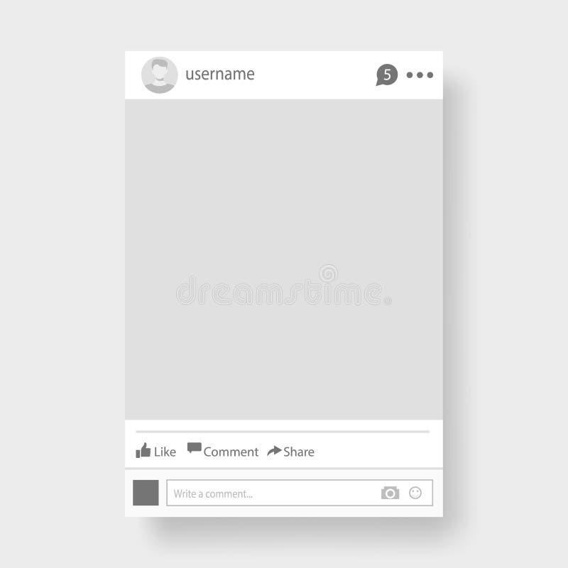 Ejemplo social del vector del marco de la foto de la red stock de ilustración