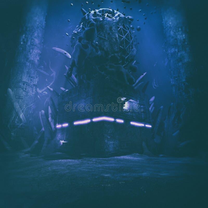 Ejemplo subacuático misterioso asustadizo extraño de la estructura ilustración del vector
