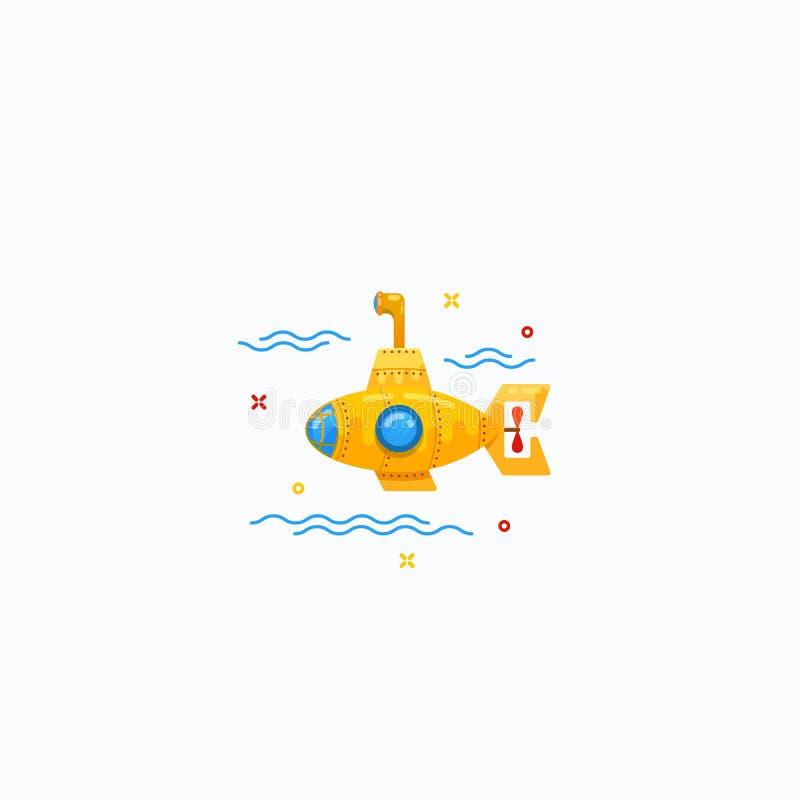 Ejemplo submarino del icono de la historieta minúscula plana del estilo stock de ilustración