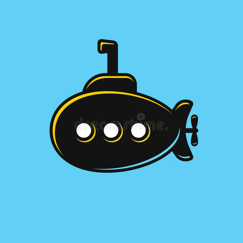 Ejemplo submarino estilizado ilustración del vector