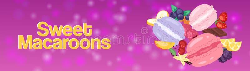 Ejemplo superior del vector de la bandera de la tienda de la panadería de los macarrones dulces Galletas de diverso gusto de la b ilustración del vector