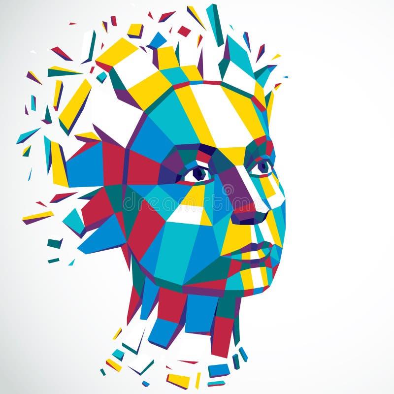 Ejemplo tecnológico moderno de la personalidad, vector 3d stock de ilustración