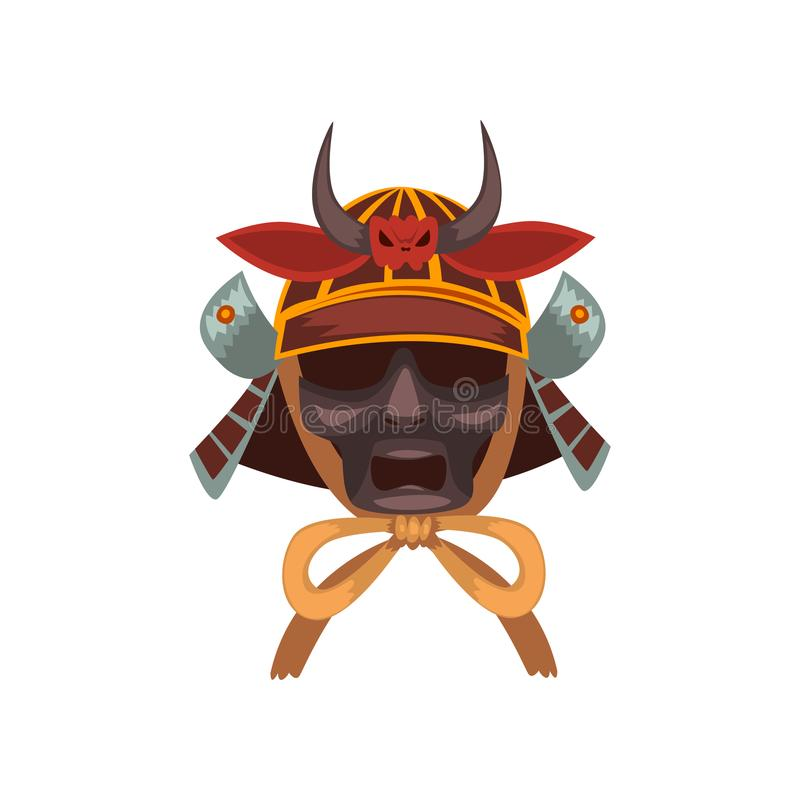 Ejemplo temible del vector de la máscara de la guerra del guerrero del samurai en un fondo blanco stock de ilustración