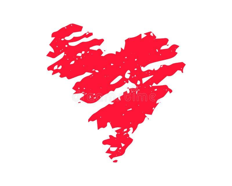 Ejemplo texturizado corazón rojo del vector en el fondo blanco Clipart del St Valentine Day Corazón rojo de la textura de la tiza stock de ilustración