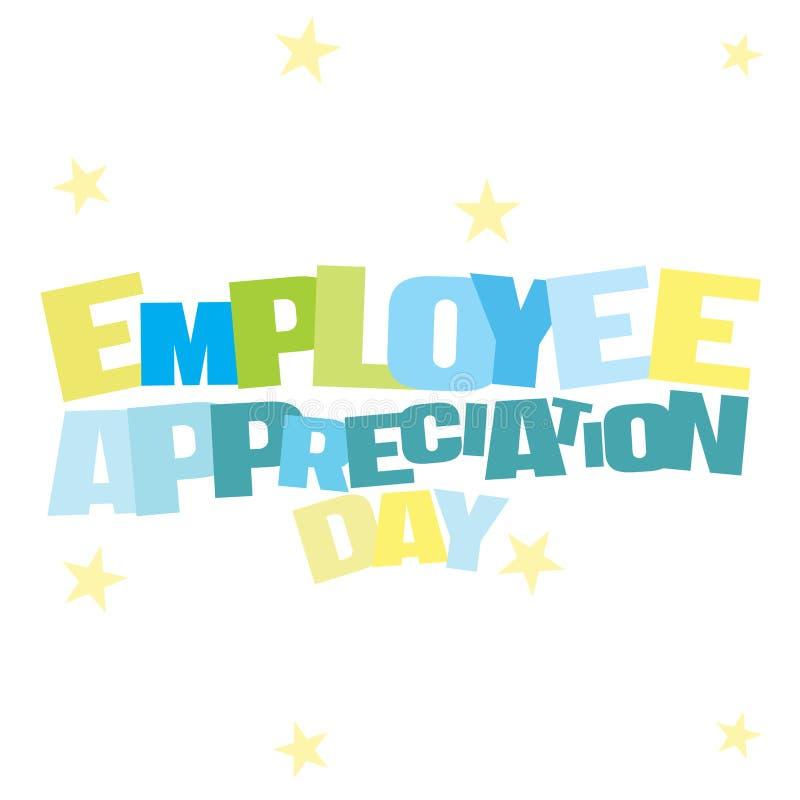 Ejemplo tipográfico del día del aprecio del empleado en colores azules y verdes ilustración del vector