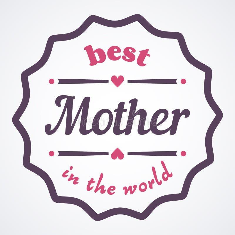 Ejemplo tipográfico feliz del día de madres La mejor madre del carte cadeaux del mundo stock de ilustración